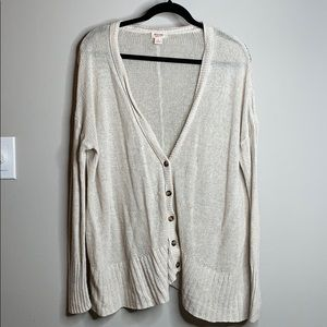 Cream cardigan sweater with buttons